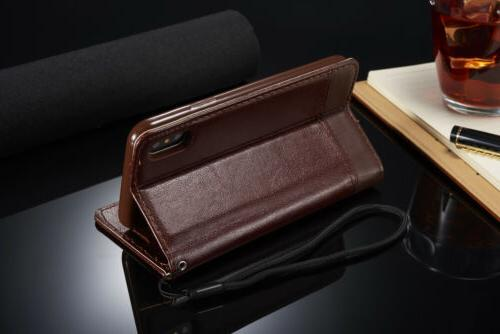 For iPhone X 8 Plus Leather Holder Flip Stand