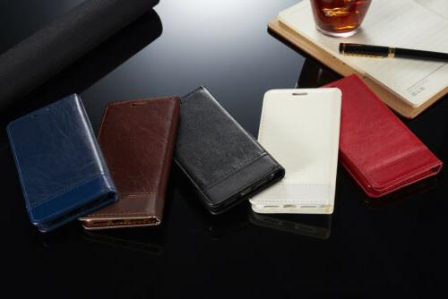 For iPhone X 8 Plus Leather Card Holder Flip Stand