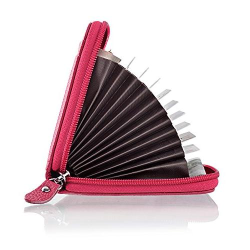 Best RFID Credit Card Holder for Travel and Business Cards Genuine Accordion for Credit Money Small