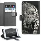 HAIRYWORM BLACK AND WHITE ANIMAL LEOPARD LEATHER WALLET PHON