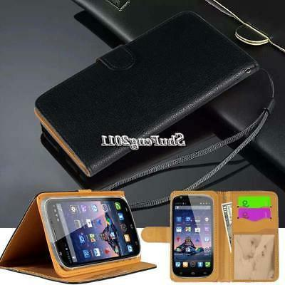 "Black Flip Cover Stand Wallet Leather Case For 4"" 4.5"" 5"" SW"