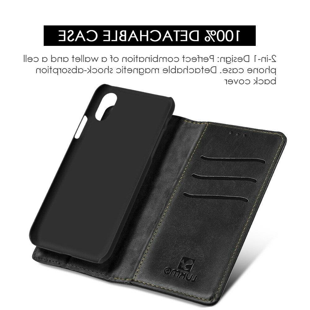 For iPhone 8 7 6 Xs Max Xr X Leather Wallet Cover Black Removable
