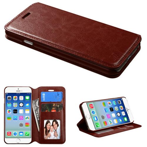 Brown Book Style Card Wallet Protector Case for 6