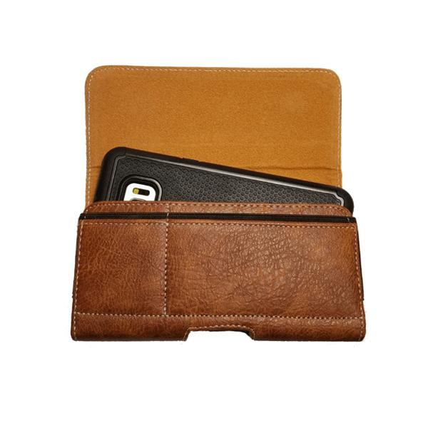 Brown Leather Sleeve Flap Clip Holster For iPhone Xs /