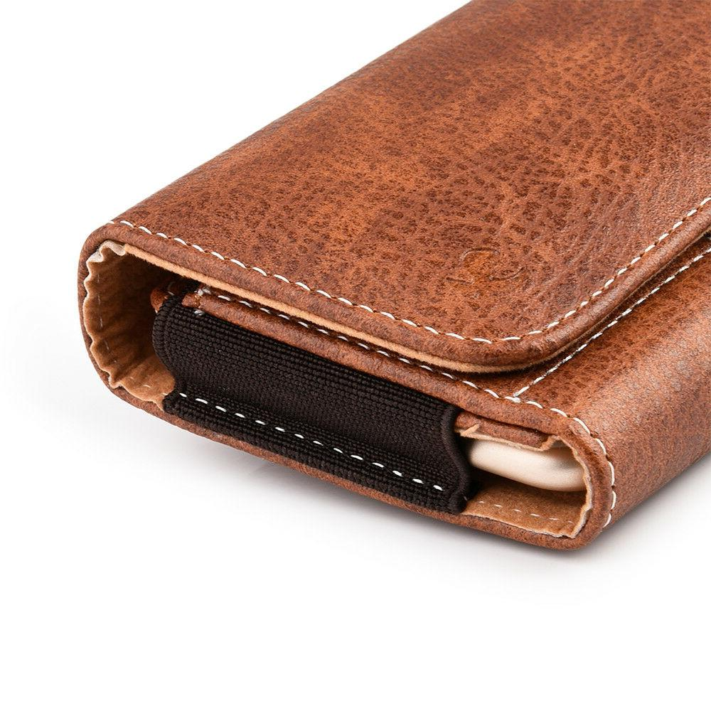 Brown Wallet Sleeve Clip Holster For iPhone Xs X