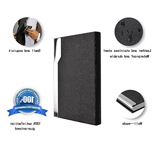 MaxGear Holder Slim Business Card Luxury Leather & Stainless Steel Metal Case Pocket Card Card ID Case/Holder for Men & Women Black