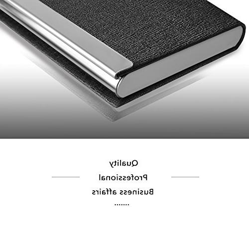 MaxGear Card Holder Slim Card Luxury PU Leather & Stainless Steel Metal Card Card Holder Card