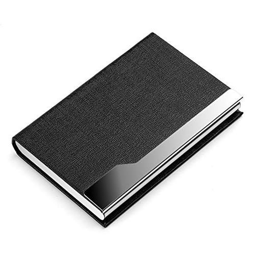 MaxGear Card Slim Card Luxury PU Stainless Steel Metal Case Pocket Business Card Holder Credit Card ID Case/Holder Men Black
