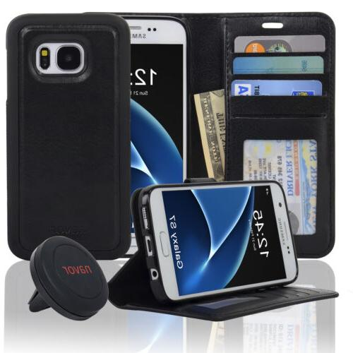 NAVOR Car Mount And Samsung Galaxy S7 Wallet Case with Magne