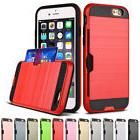 Card Wallet For Apple iPhone X 8 7 6 PLUS 5 SE TPU PC Armor