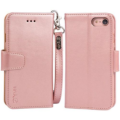 Arae for iPhone 7 8, Premium PU Wallet Case Flip for Rosegold