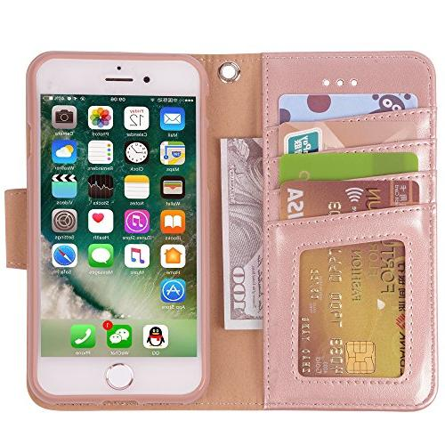 Arae Case Premium PU Case with Flip 7 /iPhone 8 Rosegold