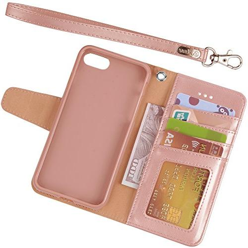 Arae 7 / iPhone Premium Wallet Case with Flip 7 8 Rosegold