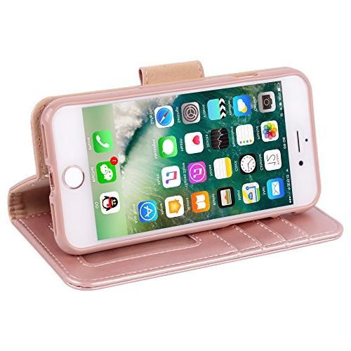 Arae Case for 7 / iPhone Premium PU Leather Case Kickstand Flip 7 /iPhone 8 Rosegold