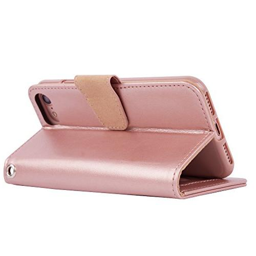 7 8, Premium Case with and Flip Cover 7 - Rosegold