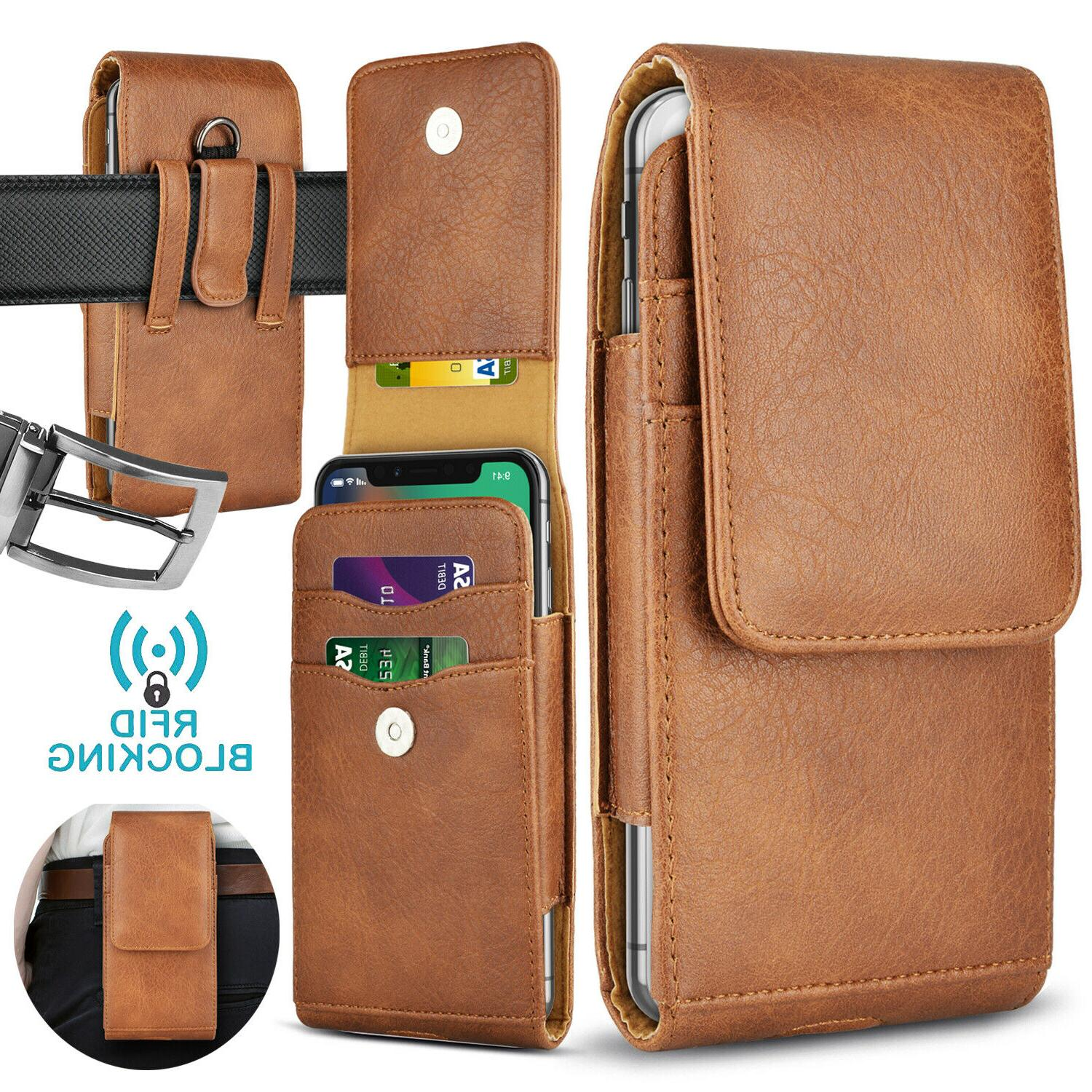Cell Phone Holster Pouch Leather Wallet Belt iphone Samsung
