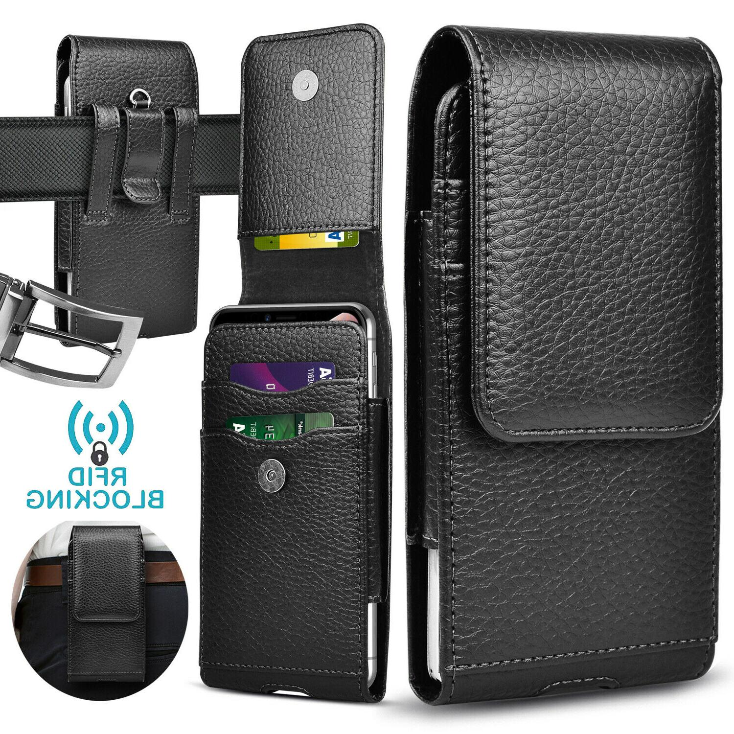 Cell Clip Loop Leather Wallet Holder