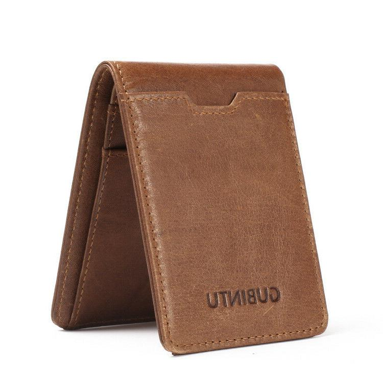 Compact Small Genuine Leather Wallet Bifold RFID Blocking Ca