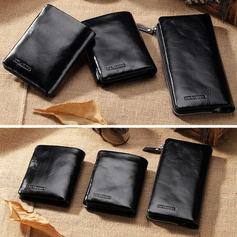 CONTACT'<font><b>S</b></font> Leather Card Holders Purse <font><b>Wallet</b></font> With Coin Black