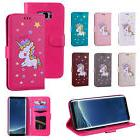 Cute Unicorn Star Leather Wallet Flip Phone Case Cover For S