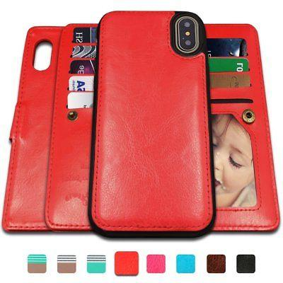 Detachable Leather wallet Card Slots Wrist iPhone XS 7