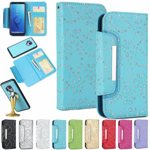 Detachable Leather Wallet Phone Case Cover For S6 S9 Note
