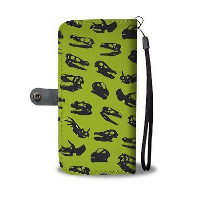 Dinosaur Fossils Skulls Phone Case Wallet Green