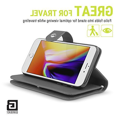 Gear Flip Cover Dual iPhone 8/7 Slim PU Case 7 Slot Card Holder Including 2 Pockets Stand Feature and Women