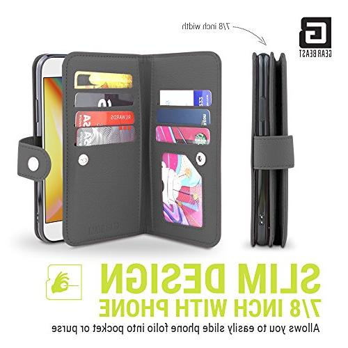 Gear Flip Cover Dual iPhone Slim Protective PU Case 7 Slot Card Holder 2 Feature for and Women