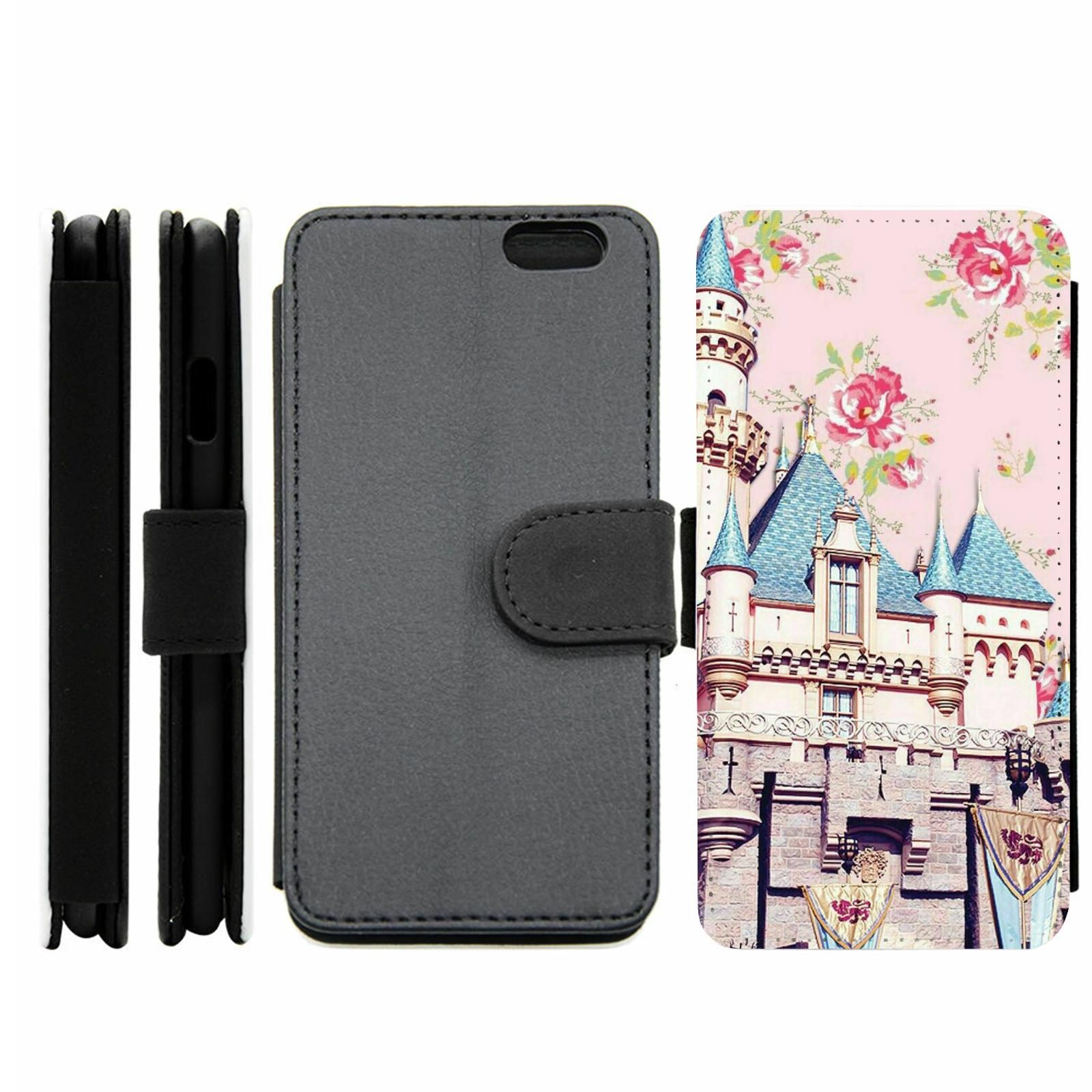 floral roses disney castle wallet phone case