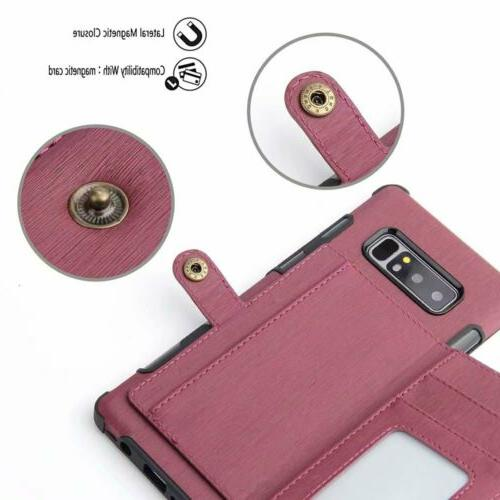 For NOTE 8 10 S9 Leather Armor Card TPU