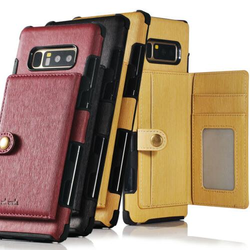 For Galaxy 8 10 Plus Leather Armor Case Card Slot Cover