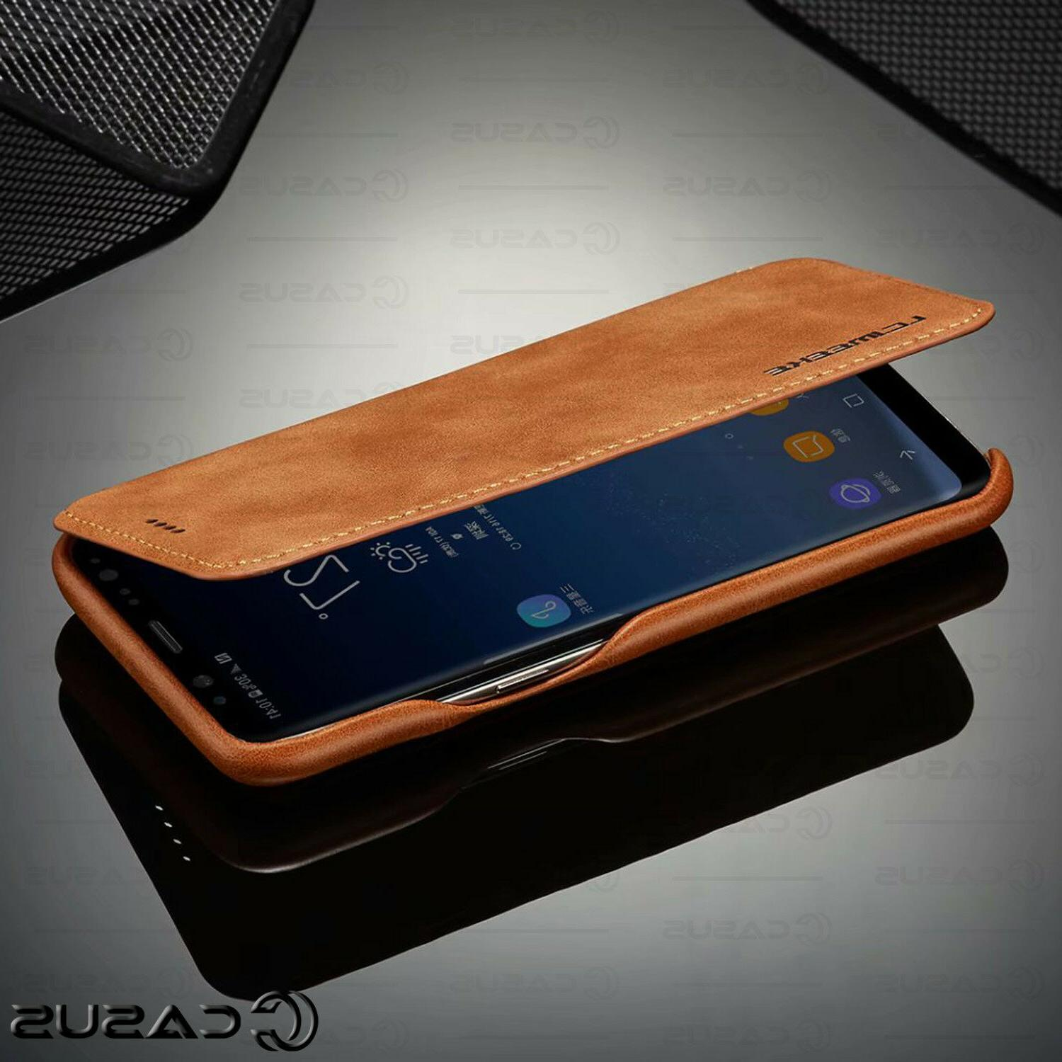 For Galaxy 10/9/8 S10/S9 Plus Leather Wallet Stand Case Cover