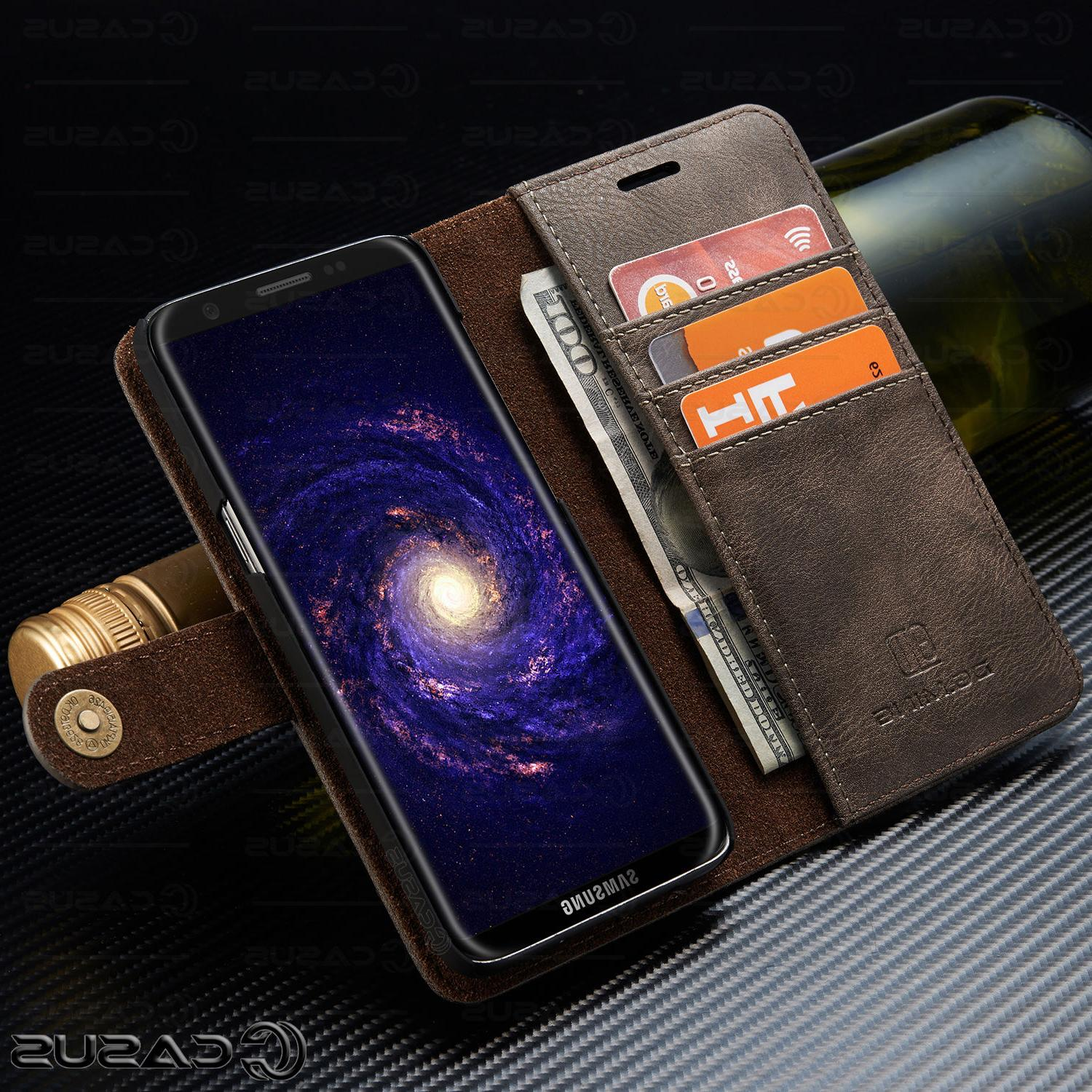 For S10/S9/S8/Note Leather Removable Wallet Magnet Flip Cover