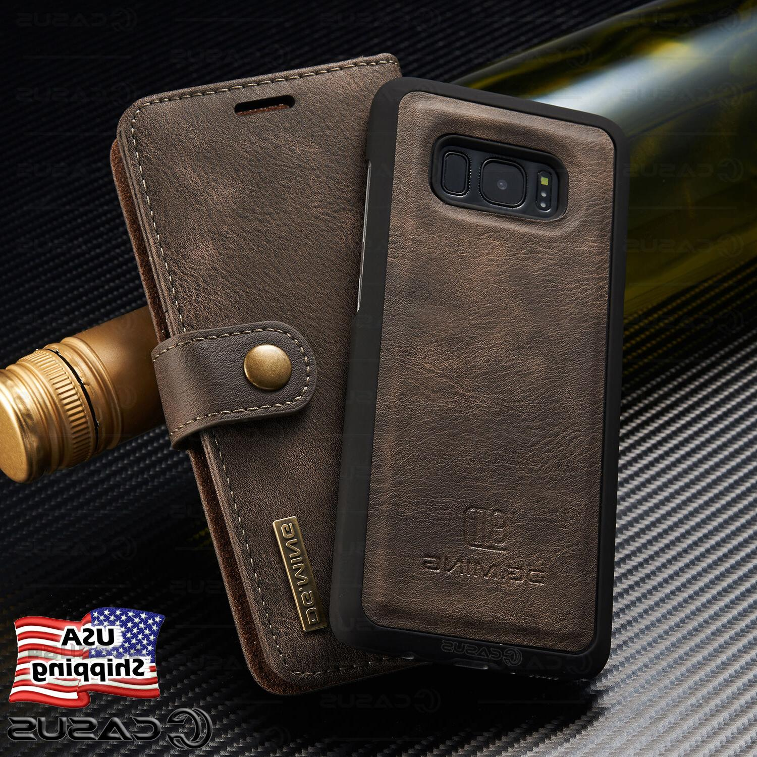 Galaxy S9/S8+/S7/Note 8 Leather Removable Wallet Magnetic Fl