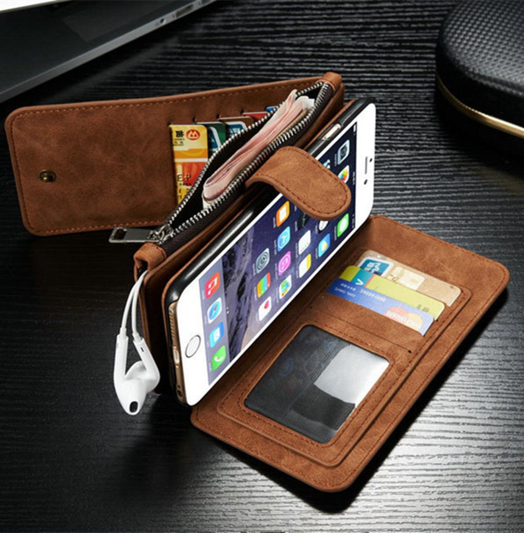 Genuine Case Magnetic Zipper Wallet For iPhone 8 & 7 Plus