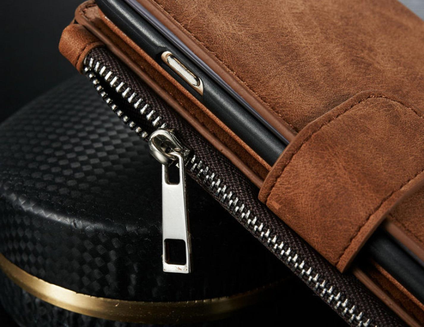 Genuine Leather Zipper Card For 8 &