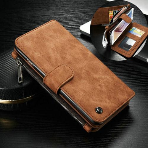 Genuine Case Magnetic Zipper Wallet Card For iPhone &