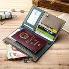 Genuine Leather Travel Wallet Bifold Ticket Card Passport Ca