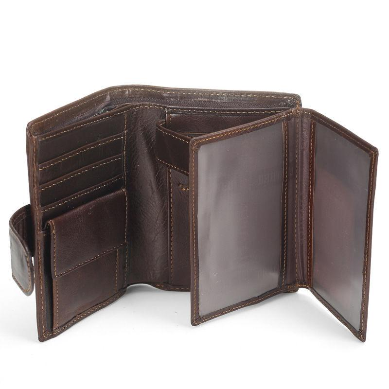 Men's Genuine Leather Coin Card Mens Vintage Trifold