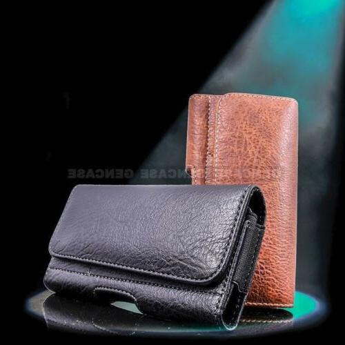 horizontal leather cell phone pouch wallet case