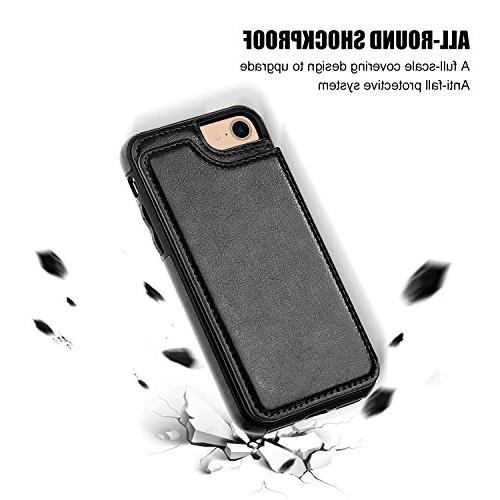iPhone Case with Card Holder,OT ONETOP iPhone 7 Premium Leather Kickstand Card Magnetic Clasp and 4.7
