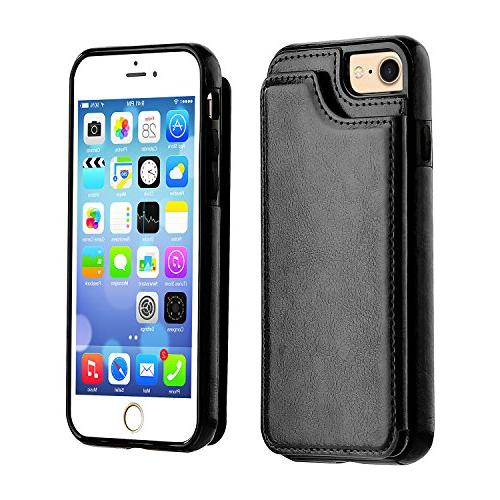 iPhone Wallet Case with iPhone Premium PU Leather Card Slots,Double Magnetic and Durable 4.7 Inch