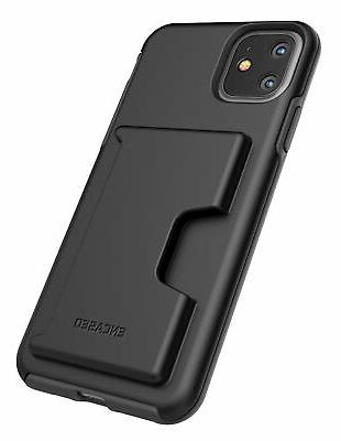 iPhone 11 Wallet Case Slim Durable Cover with Credit Card Holder Black