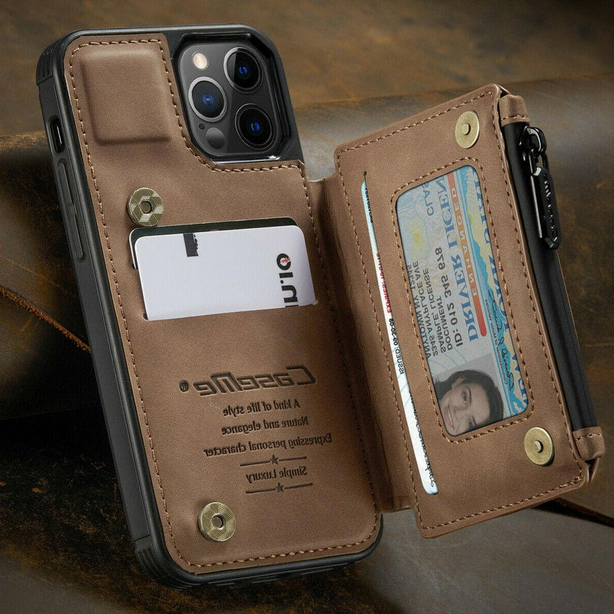 FOR iPhone Pro Max Leather Zipper Flip Cover Card