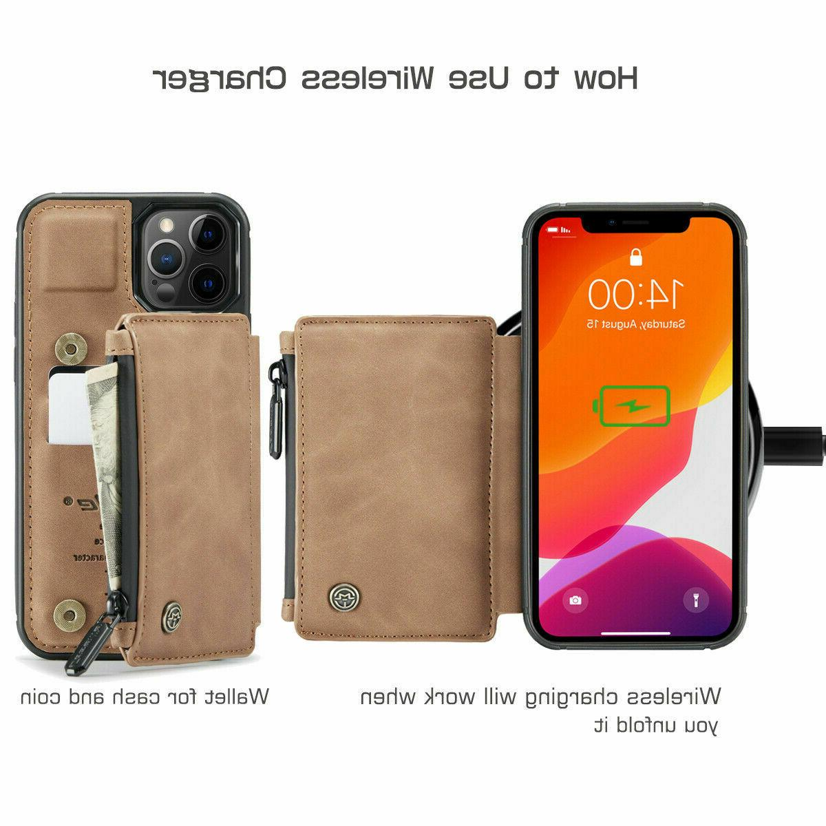 FOR iPhone Max Zipper Magnet Flip Cover Card Case