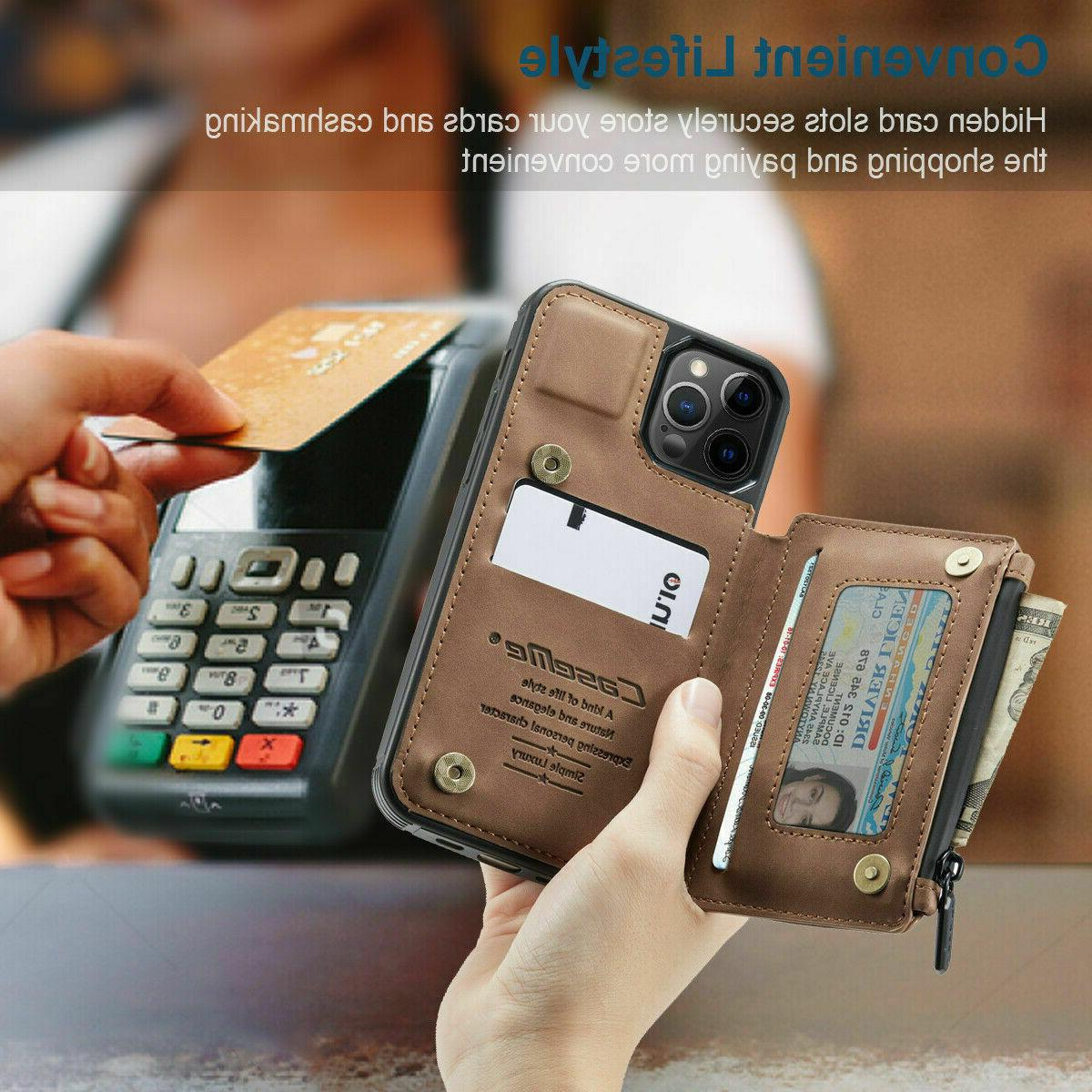FOR iPhone 12/11 Max Zipper Magnet Cover Card Case