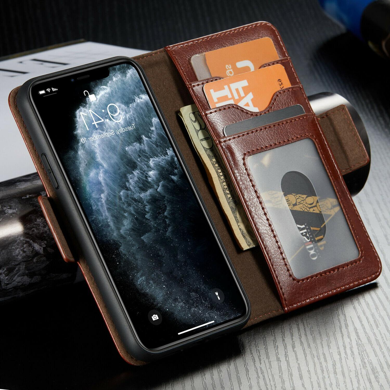 For iPhone Max XS Removable Leather Wallet