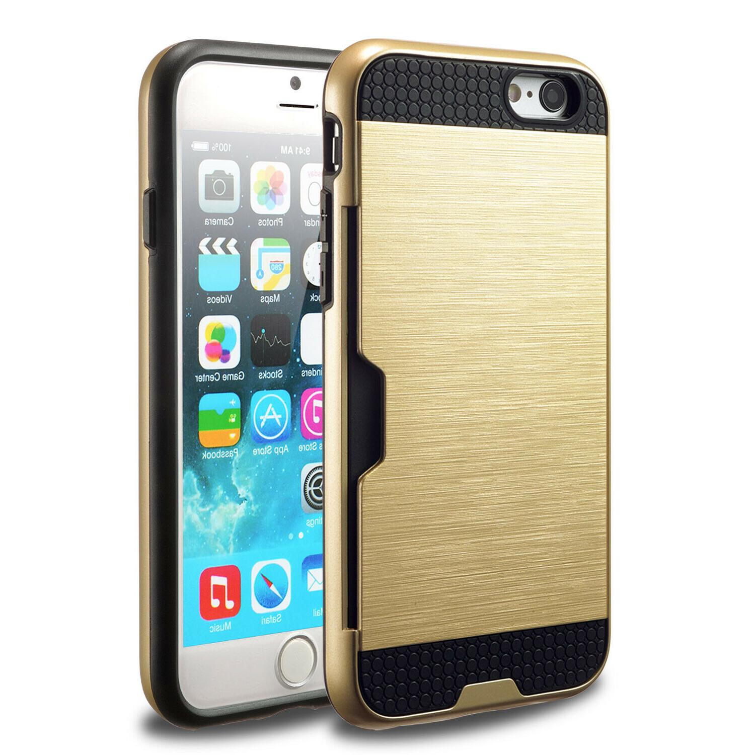 For iPhone 8 Credit Card Wallet Shockproof Bumper Cover