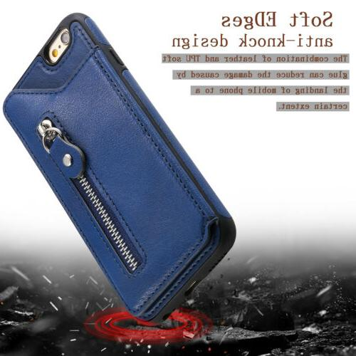 For iPhone 8 11 Pro MAX XS X Zipper Wallet Case Cover